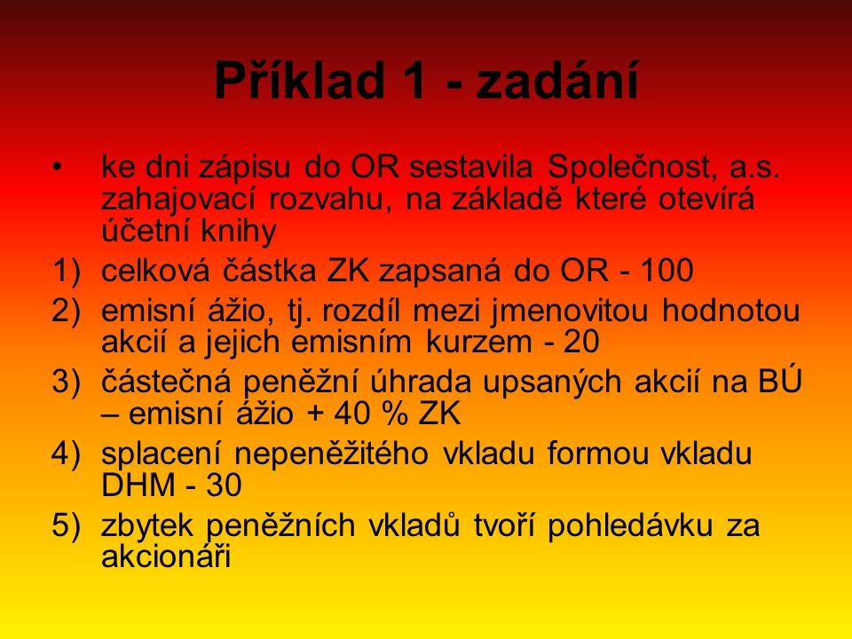 Příklad 1 - zadání ke dni zápisu do OR sestavila Společnost, a.s. zahajovací rozvahu, na základě které otevírá účetní knihy 1)celková částka ZK zapsan