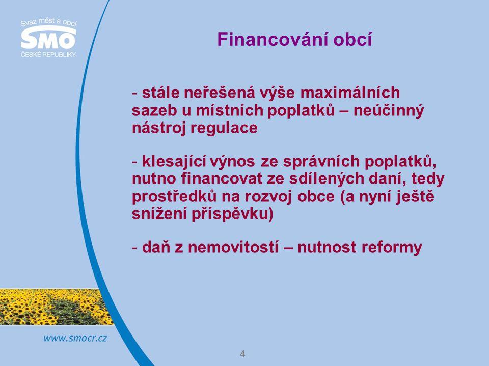 4 Financování obcí - stále neřešená výše maximálních sazeb u místních poplatků – neúčinný nástroj regulace - klesající výnos ze správních poplatků, nutno financovat ze sdílených daní, tedy prostředků na rozvoj obce (a nyní ještě snížení příspěvku) - daň z nemovitostí – nutnost reformy