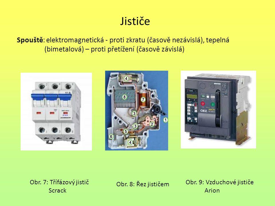Jističe Spouště: elektromagnetická - proti zkratu (časově nezávislá), tepelná (bimetalová) – proti přetížení (časově závislá) Obr.