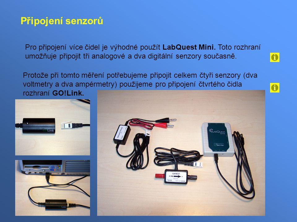 Připojení senzorů Pro připojení více čidel je výhodné použít LabQuest Mini.