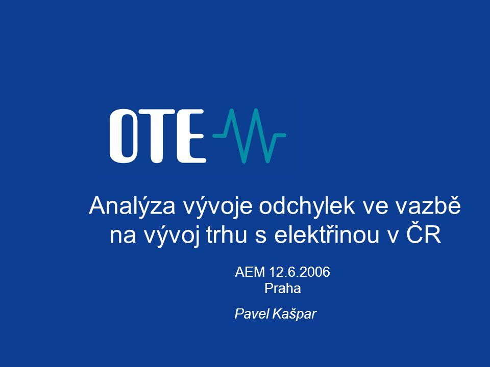 Analýza vývoje odchylek ve vazbě na vývoj trhu s elektřinou v ČR Pavel Kašpar AEM 12.6.2006 Praha