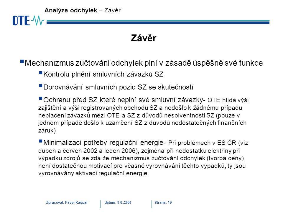 Zpracoval: Pavel Kašpardatum: 9.6..2006 Strana: 19 Analýza odchylek – Závěr Závěr  Kontrolu plnění smluvních závazků SZ  Dorovnávání smluvních pozic