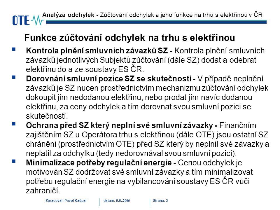 Zpracoval: Pavel Kašpardatum: 9.6..2006 Strana: 14 Analýza odchylek – Odchylky při nedostatek elektřiny v lednu 2006 Objemy odchylek v lednu 2006