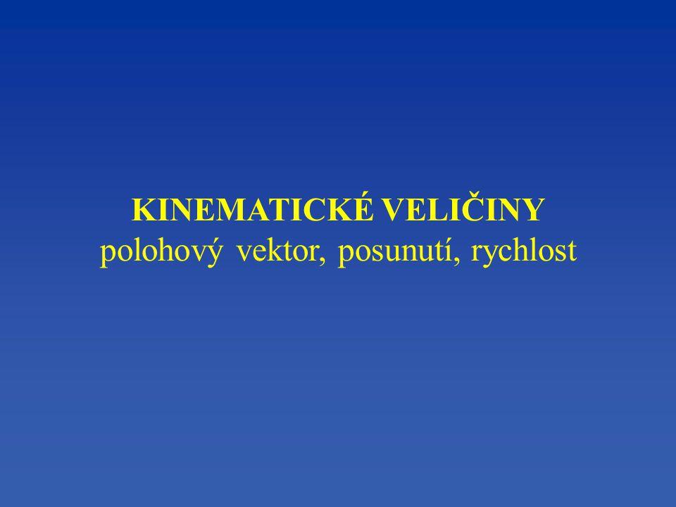 KINEMATICKÉ VELIČINY polohový vektor, posunutí, rychlost