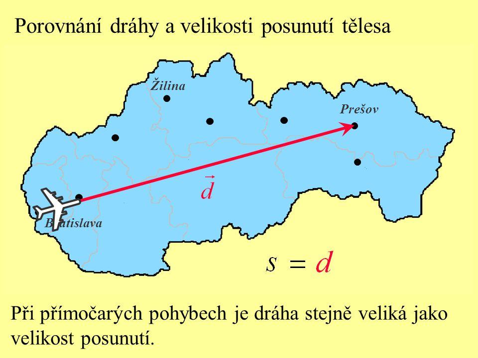 Při přímočarých pohybech je dráha stejně veliká jako velikost posunutí. Bratislava Prešov Žilina Porovnání dráhy a velikosti posunutí tělesa