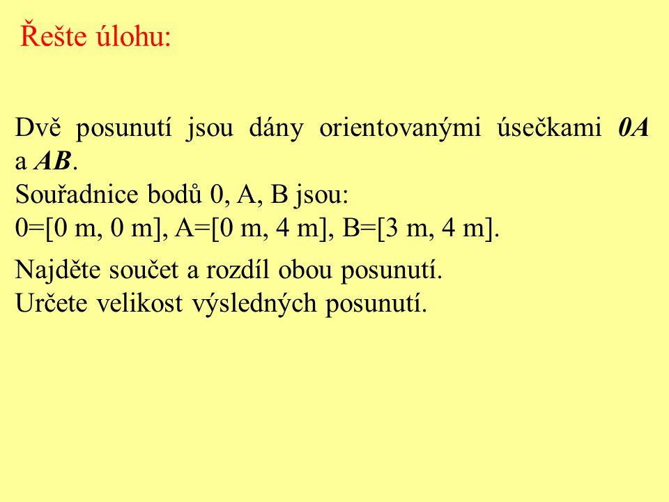 Dvě posunutí jsou dány orientovanými úsečkami 0A a AB. Souřadnice bodů 0, A, B jsou: 0=[0 m, 0 m], A=[0 m, 4 m], B=[3 m, 4 m]. Najděte součet a rozdíl