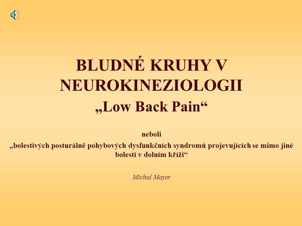 """bludný kruh POSUNUTÉ AFERENCE Funkční příčiny posunuté aference (repoziční chyby) = všechny příčiny abnormální aktivace zůčastněných svalů statická pozice (i při """"minimální zátěži) stereotypní úkony nedostatečný """"trénink , hypoaktivita únava dysfunkce limbického systému a RF, dráždivost NS (u """"LBP je snížená úroveň inhibice) myoskeletální, myofasciální, viscerovertebrální, vaskulární, neurální, vegetativní etc..."""