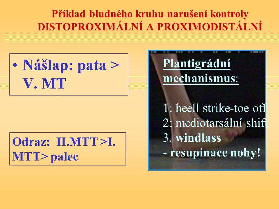 Příklad bludného kruhu narušení kontroly DISTOPROXIMÁLNÍ A PROXIMODISTÁLNÍ Plantigrádní mechanismus: 1: heell strike-toe off 2: mediotarsální shift 3.