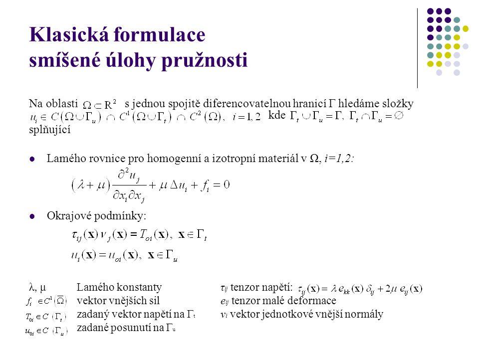 Klasická formulace smíšené úlohy pružnosti Na oblastis jednou spojitě diferencovatelnou hranicí Γ hledáme složky kde splňující Lamého rovnice pro homogenní a izotropní materiál v Ω, i=1,2: Okrajové podmínky: λ, μ Lamého konstantyτ ij tenzor napětí: vektor vnějších sile ij tenzor malé deformace zadaný vektor napětí na Γ t ν i vektor jednotkové vnější normály zadané posunutí na Γ u