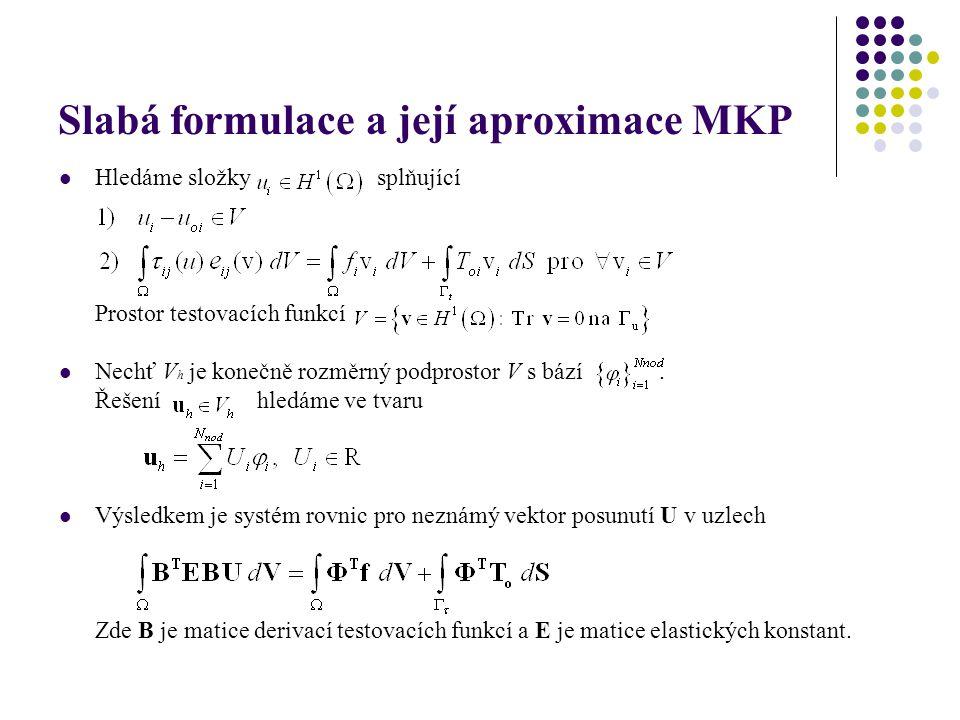 Slabá formulace a její aproximace MKP Hledáme složky splňující Prostor testovacích funkcí Nechť V h je konečně rozměrný podprostor V s bází. Řešení hl