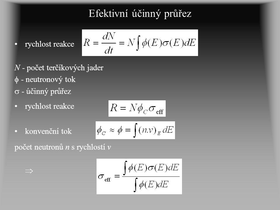 Efektivní účinný průřez rychlost reakce N - počet terčíkových jader  - neutronový tok  - účinný průřez rychlost reakce konvenční tok počet neutronů