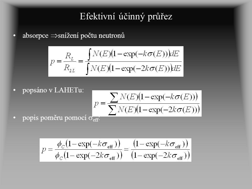 Efektivní účinný průřez absorpce  snížení počtu neutronů popsáno v LAHETu: popis poměru pomocí  eff :