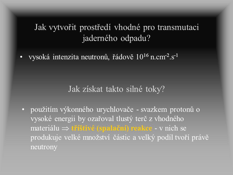 Jak vytvořit prostředí vhodné pro transmutaci jaderného odpadu? vysoká intenzita neutronů, řádově 10 16 n.cm -2.s -1 Jak získat takto silné toky? použ