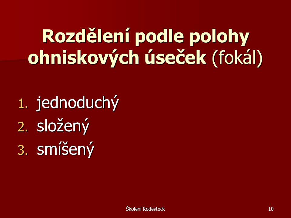Školení Rodestock10 Rozdělení podle polohy ohniskových úseček (fokál) 1. jednoduchý 2. složený 3. smíšený