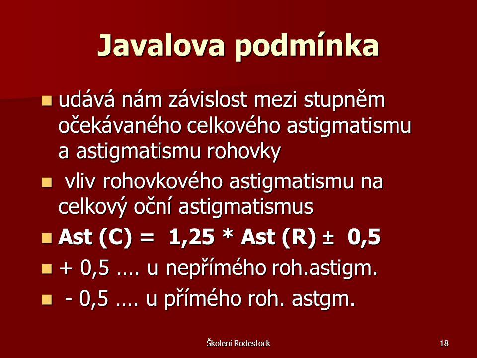 Školení Rodestock18 Javalova podmínka udává nám závislost mezi stupněm očekávaného celkového astigmatismu a astigmatismu rohovky udává nám závislost m