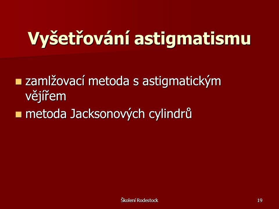 Školení Rodestock19 Vyšetřování astigmatismu zamlžovací metoda s astigmatickým vějířem zamlžovací metoda s astigmatickým vějířem metoda Jacksonových c