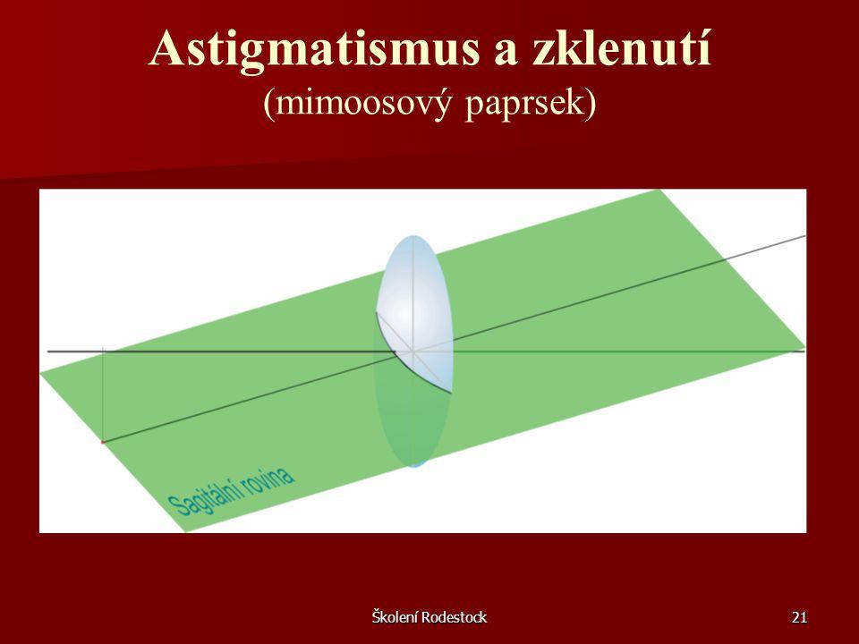 Školení Rodestock21 Astigmatismus a zklenutí (mimoosový paprsek)