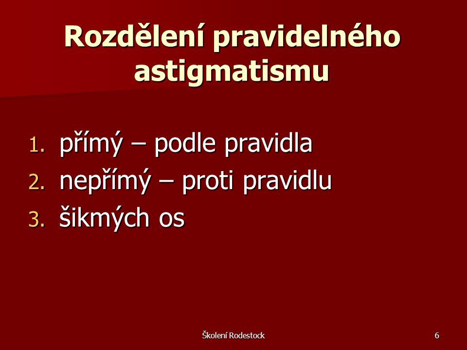 Školení Rodestock6 Rozdělení pravidelného astigmatismu 1. přímý – podle pravidla 2. nepřímý – proti pravidlu 3. šikmých os
