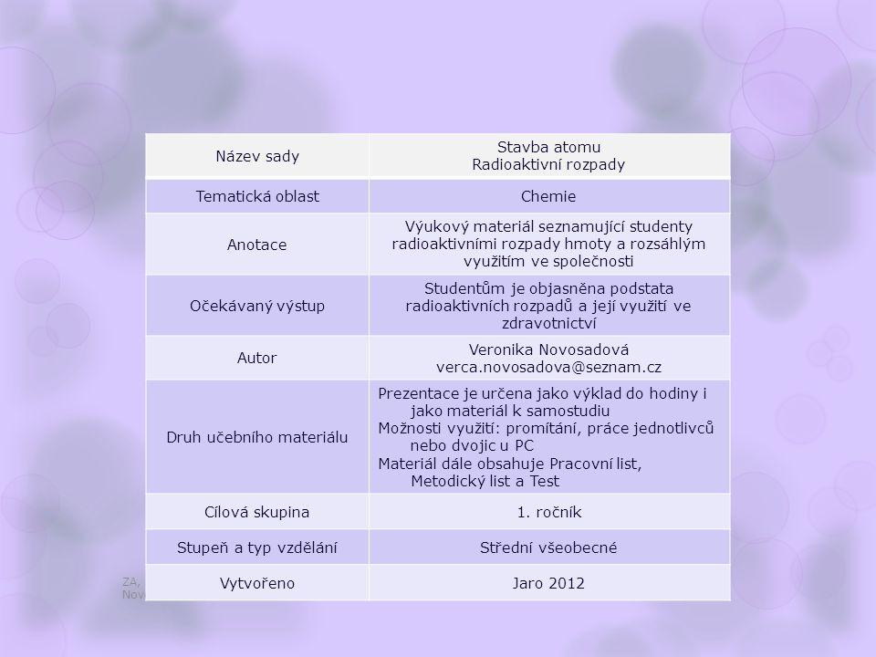 Radioaktivní rozpady ZA, 1. ročník / Stavba atomu, Radioaktivní rozpady / Mgr. Veronika Novosadová