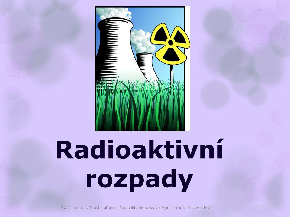 Rozpad (přeměna) α  částice alfa je jádro atomu helia (atom helia, z něhož byl odstraněn elektronový obal)  alfa částici tvoří dva protony a dva neutrony (alfa částice má náboj +2)  rozpadem vzniklý nuklid je v PSP posunut vzhledem k původnímu jádru o dvě místa vlevo Z A X  Z-2 A-4 Y + 2 4 He( 2 4 ) 88 226 Ra  86 222 Rn + 2 4 He ( 2 4 ) ZA, 1.