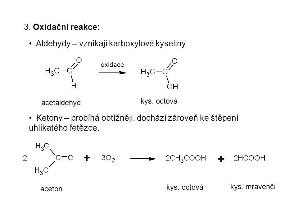 3. Oxidační reakce: Aldehydy – vznikají karboxylové kyseliny. Ketony – probíhá obtížněji, dochází zároveň ke štěpení uhlíkatého řetězce. oxidace aceta