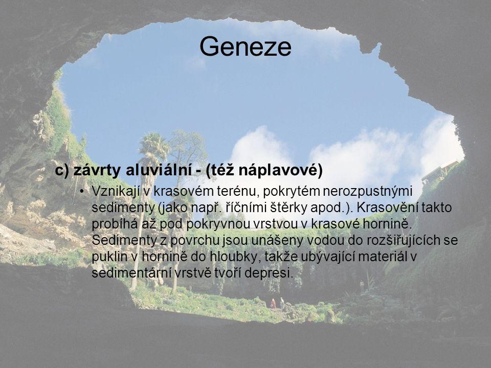 Geneze c) závrty aluviální - (též náplavové) Vznikají v krasovém terénu, pokrytém nerozpustnými sedimenty (jako např. říčními štěrky apod.). Krasovění