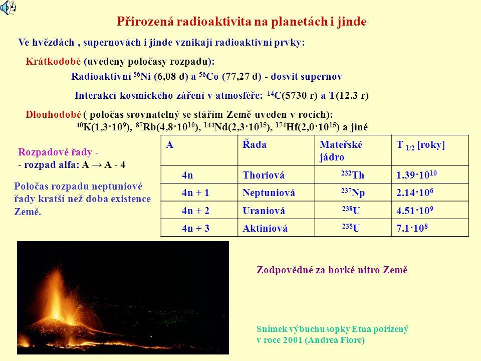 AŘadaMateřské jádro T 1/2 [roky] 4nThoriová 232 Th1.39·10 10 4n + 1Neptuniová 237 Np2.14·10 6 4n + 2Uraniová 238 U4.51·10 9 4n + 3Aktiniová 235 U7.1·1