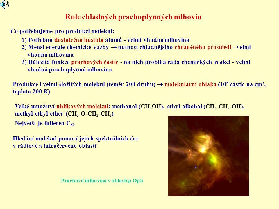 Role chladných prachoplynných mlhovin Co potřebujeme pro produkci molekul: 1) Potřebná dostatečná hustota atomů - velmi vhodná mlhovina 2) Menší energ