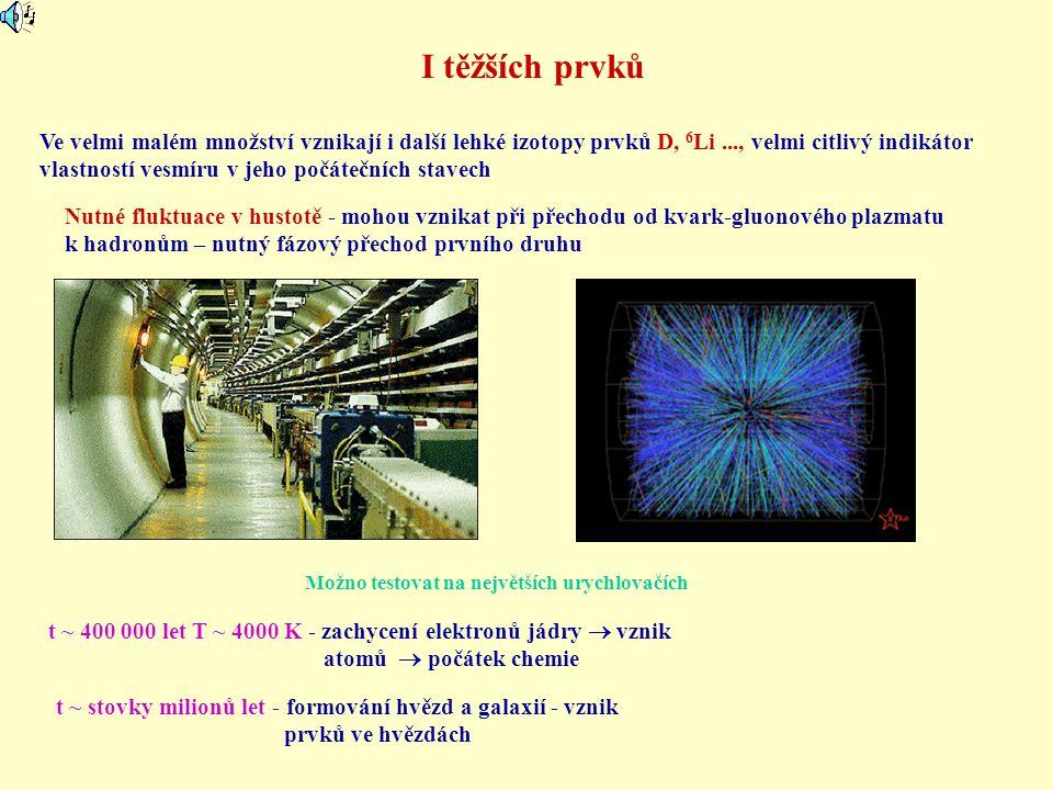 I těžších prvků Ve velmi malém množství vznikají i další lehké izotopy prvků D, 6 Li..., velmi citlivý indikátor vlastností vesmíru v jeho počátečních