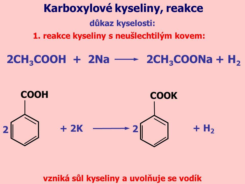 důkaz kyselosti: Karboxylové kyseliny, reakce 1.