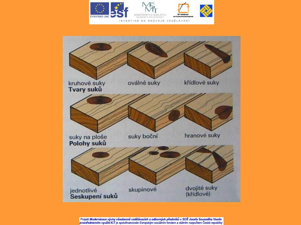 c)Podle stupně srůstu s okolním dřevem: - srostlé – letokruhy suku tvoří s okolním dřevem souvislý celek - částečně srostlé – po větvích odumřelých - nesrostlé (vypadavé)- oddělené od okolního dřeva d)Podle místa výskytu v kmeni: - vnitřní – ve spodní části kmene - zarostlé – ve střední části kmene, na povrchu jsou vypukliny - vnější – v horní části kmene, nezavalené dřevem, vycházejí na povrch.