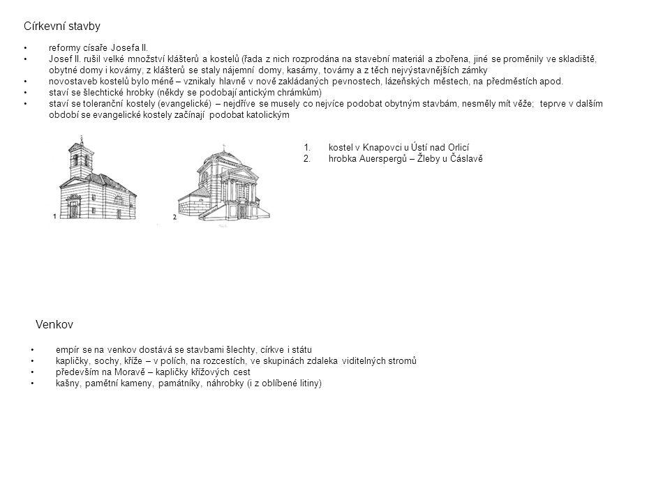 Církevní stavby reformy císaře Josefa II. Josef II. rušil velké množství klášterů a kostelů (řada z nich rozprodána na stavební materiál a zbořena, ji