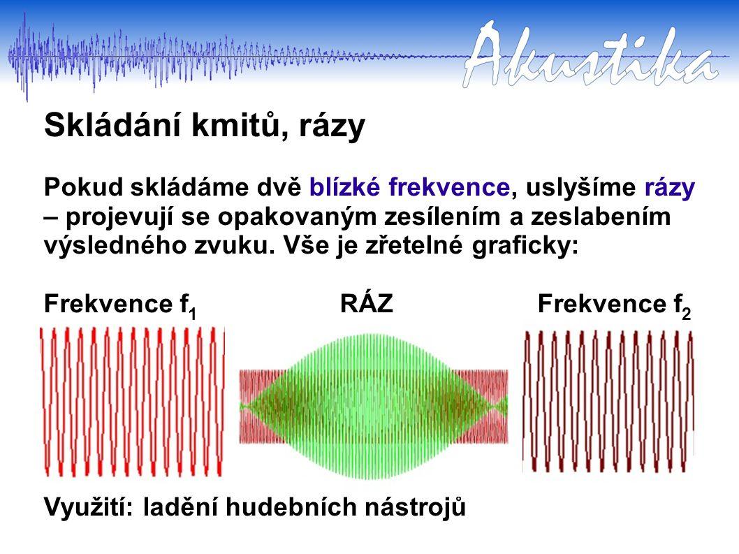 Pokud skládáme dvě blízké frekvence, uslyšíme rázy – projevují se opakovaným zesílením a zeslabením výsledného zvuku.