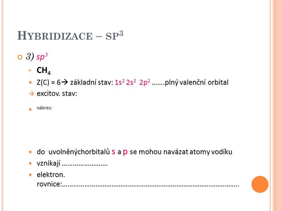 H YBRIDIZACE – SP 3 3) sp 3 CH 4 Z(C) = 6  základní stav: 1s 2 2s 2 2p 2 …….plný valenční orbital Z(C) = 6  základní stav: 1s 2 2s 2 2p 2 …….plný va