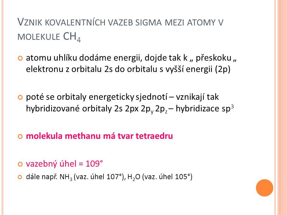 """V ZNIK KOVALENTNÍCH VAZEB SIGMA MEZI ATOMY V MOLEKULE CH 4 atomu uhlíku dodáme energii, dojde tak k """" přeskoku """" elektronu z orbitalu 2s do orbitalu s"""