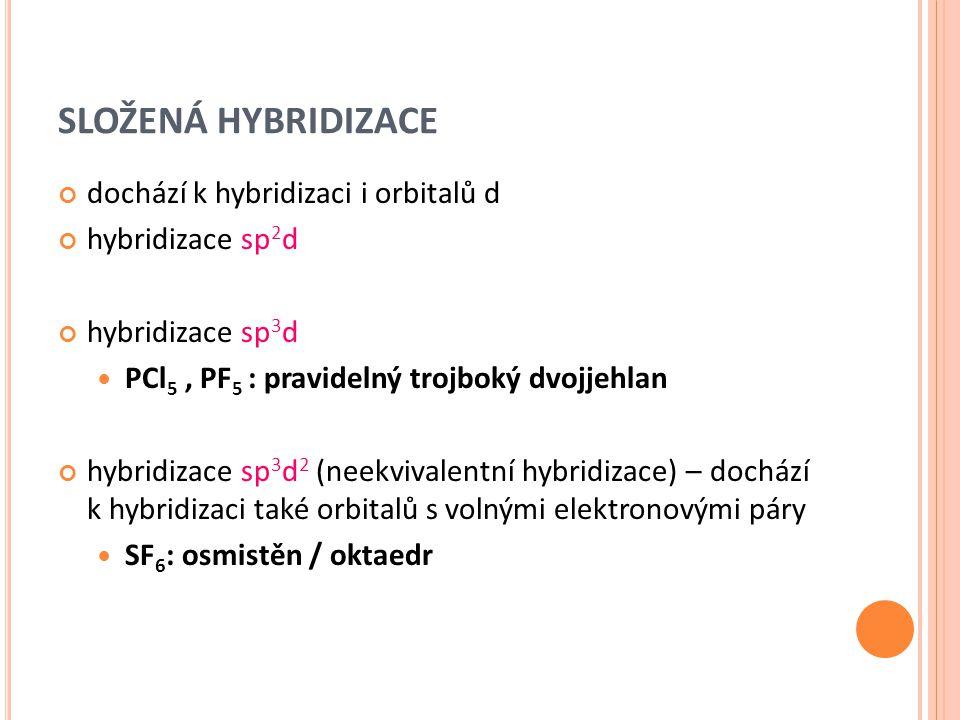 SLOŽENÁ HYBRIDIZACE dochází k hybridizaci i orbitalů d hybridizace sp 2 d hybridizace sp 3 d PCl 5, PF 5 : pravidelný trojboký dvojjehlan hybridizace