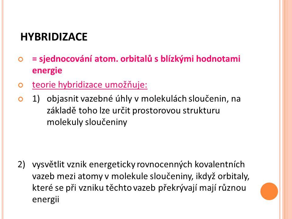 HYBRIDIZACE = sjednocování atom. orbitalů s blízkými hodnotami energie teorie hybridizace umožňuje: 1)objasnit vazebné úhly v molekulách sloučenin, na