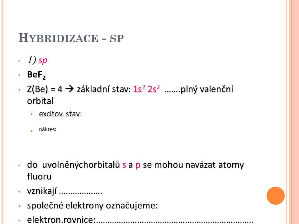 H YBRIDIZACE - SP 1) sp 2 BeF 2 Z(Be) = 4  základní stav: 1s 2 2s 2 …….plný valenční orbital Z(Be) = 4  základní stav: 1s 2 2s 2 …….plný valenční or