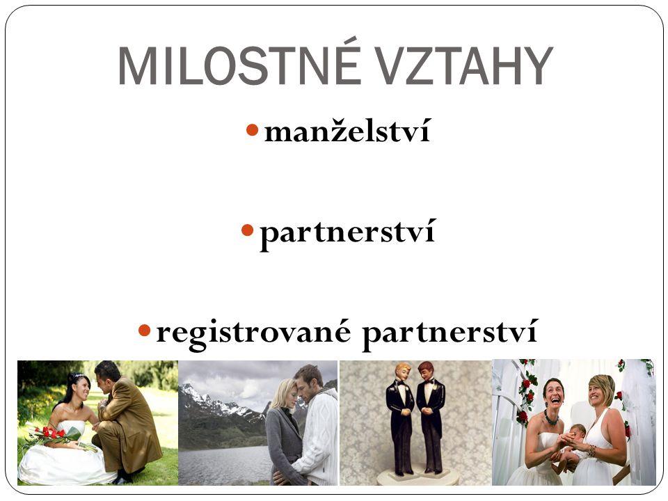 MILOSTNÉ VZTAHY manželství partnerství registrované partnerství