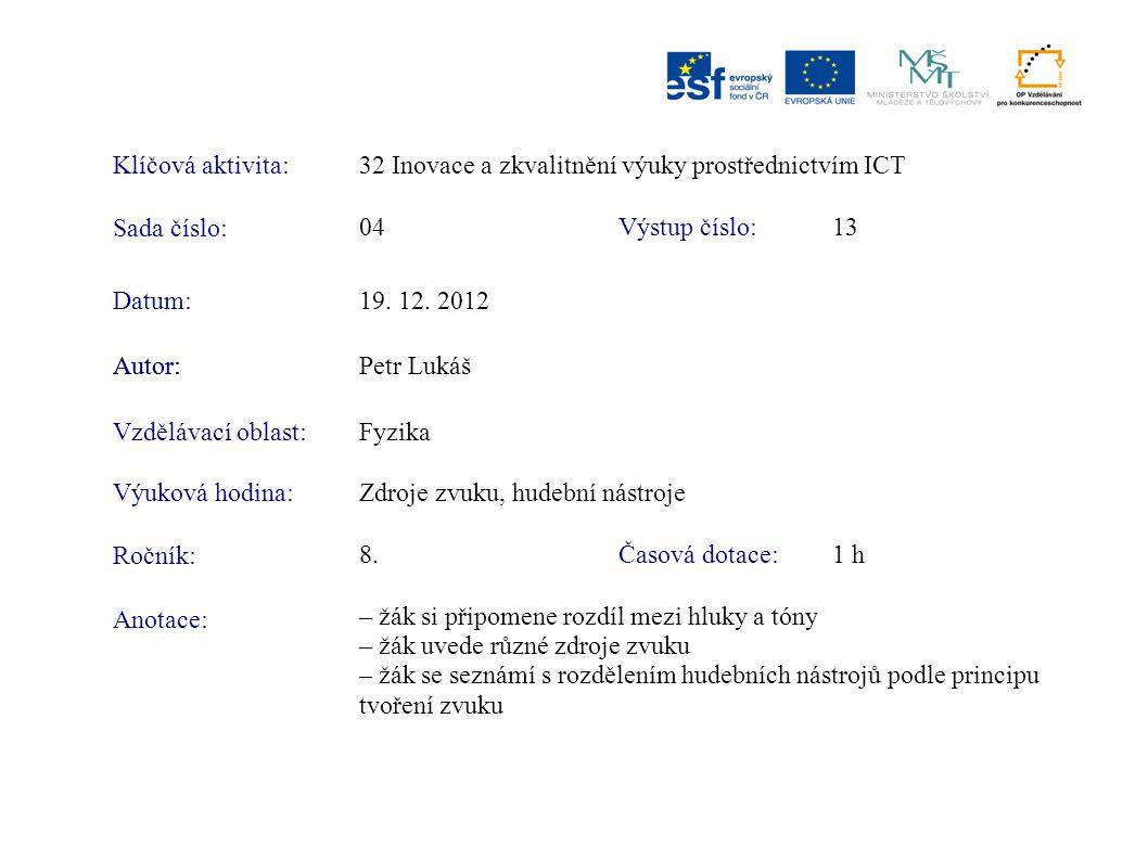 Klíčová aktivita:32 Inovace a zkvalitnění výuky prostřednictvím ICT Sada číslo: Výstup číslo:04 13 Autor:Petr Lukáš Vzdělávací oblast:Fyzika Výuková h