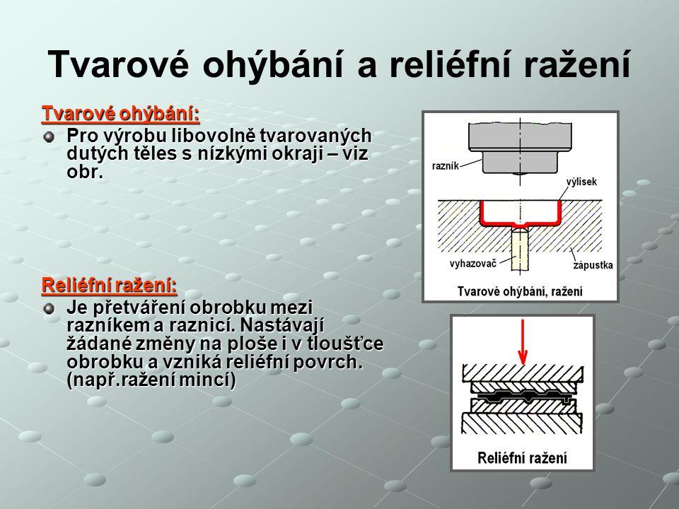 Tvarové ohýbání a reliéfní ražení Tvarové ohýbání: Pro výrobu libovolně tvarovaných dutých těles s nízkými okraji – viz obr. Reliéfní ražení: Je přetv