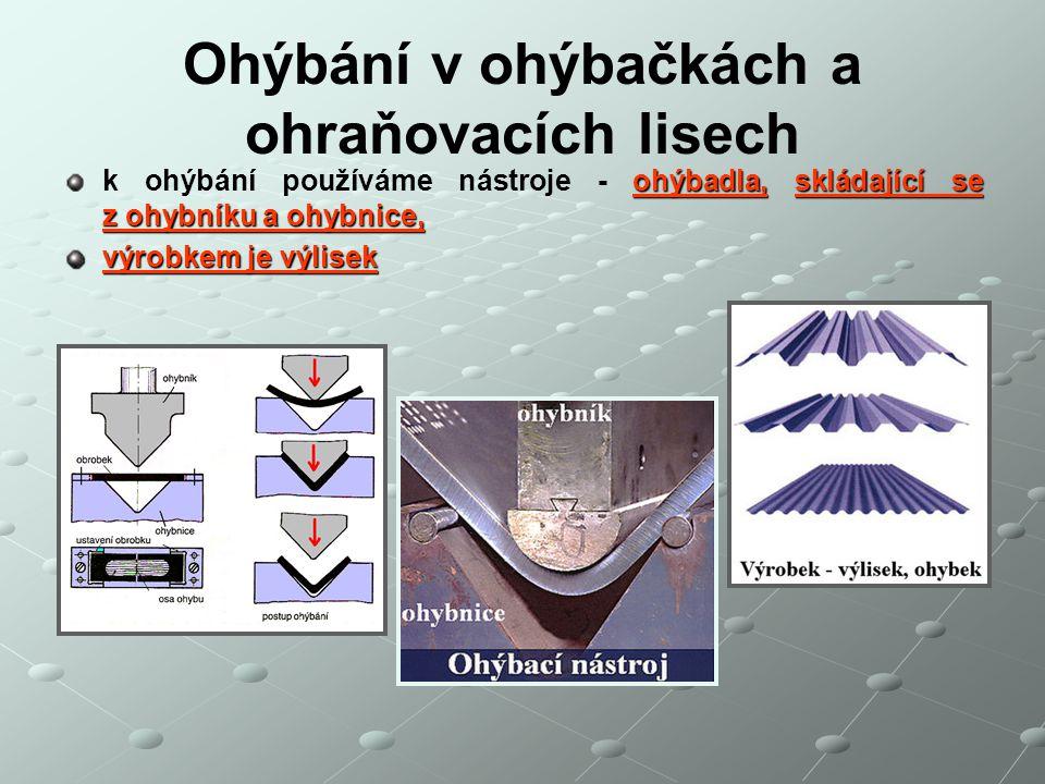 Ohýbání v ohýbačkách a ohraňovacích lisech ohýbadla,skládající se z ohybníku a ohybnice, k ohýbání používáme nástroje - ohýbadla, skládající se z ohyb