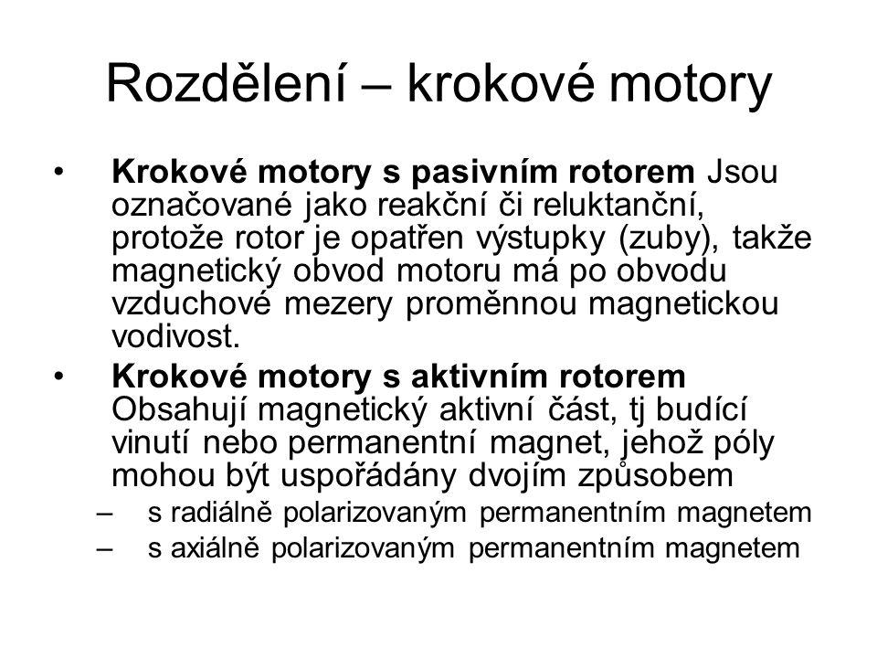 Rozdělení – krokové motory Krokové motory s pasivním rotorem Jsou označované jako reakční či reluktanční, protože rotor je opatřen výstupky (zuby), ta