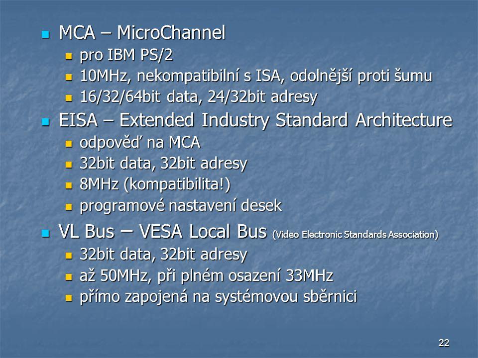22 MCA – MicroChannel MCA – MicroChannel pro IBM PS/2 pro IBM PS/2 10MHz, nekompatibilní s ISA, odolnější proti šumu 10MHz, nekompatibilní s ISA, odol