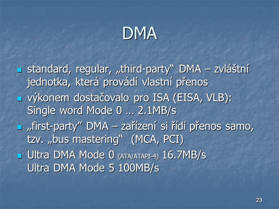 """23 DMA standard, regular, """"third-party"""" DMA – zvláštní jednotka, která provádí vlastní přenos standard, regular, """"third-party"""" DMA – zvláštní jednotka"""