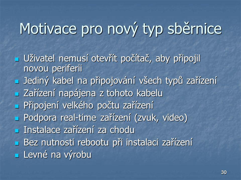 30 Motivace pro nový typ sběrnice Uživatel nemusí otevřít počítač, aby připojil novou periferii Uživatel nemusí otevřít počítač, aby připojil novou pe