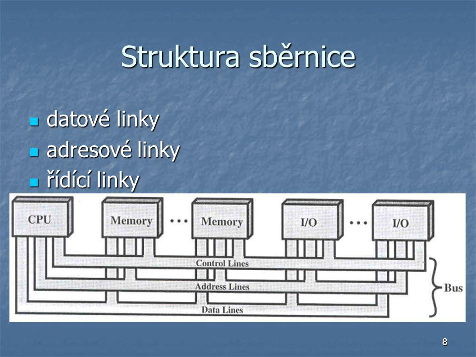 8 Struktura sběrnice datové linky datové linky adresové linky adresové linky řídící linky řídící linky