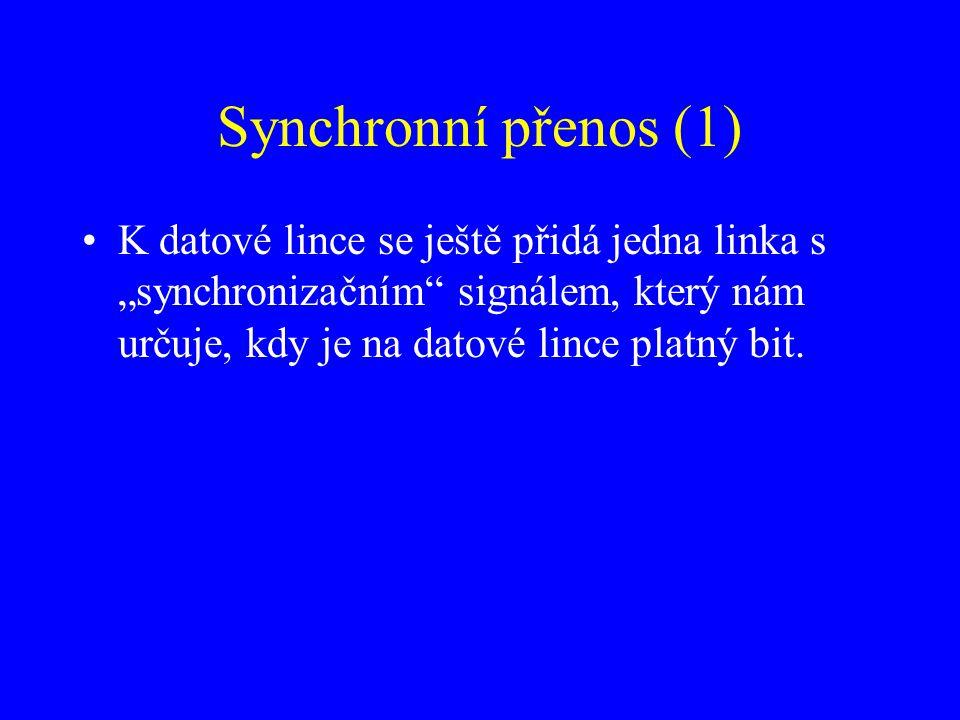 """Synchronní přenos (1) K datové lince se ještě přidá jedna linka s """"synchronizačním"""" signálem, který nám určuje, kdy je na datové lince platný bit."""