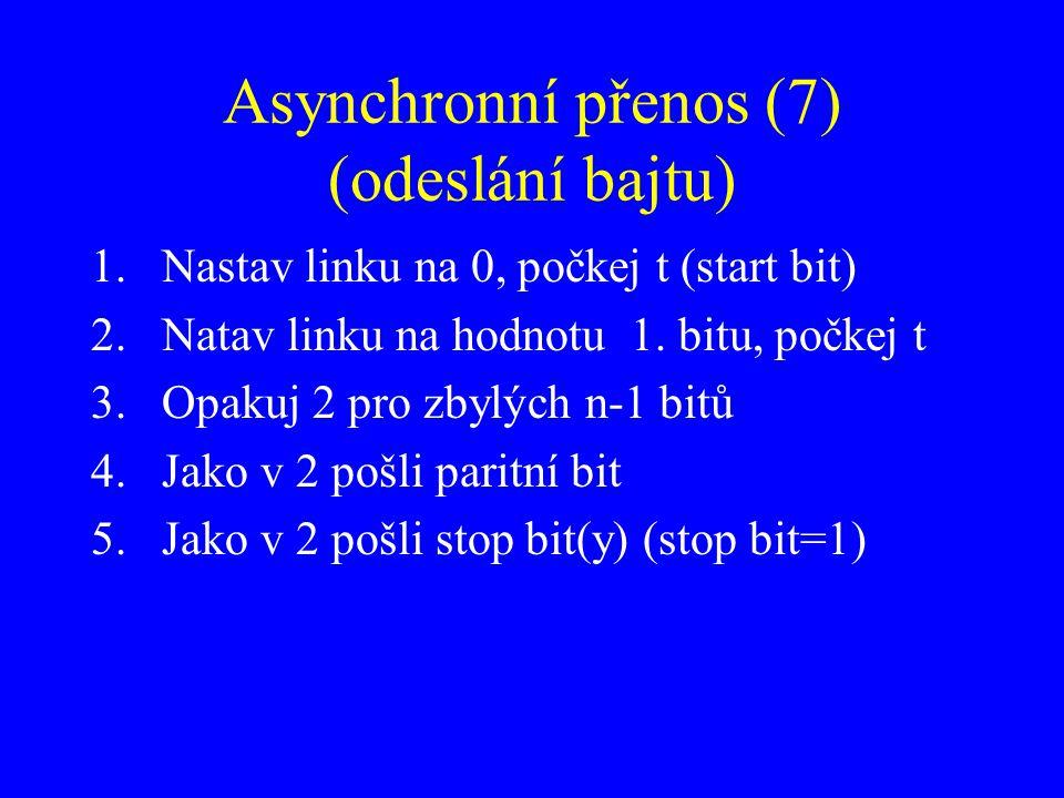 Asynchronní přenos (7) (odeslání bajtu) 1.Nastav linku na 0, počkej t (start bit) 2.Natav linku na hodnotu 1. bitu, počkej t 3.Opakuj 2 pro zbylých n-