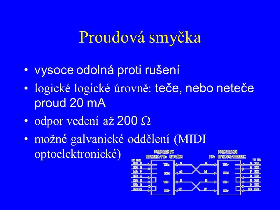 Proudová smyčka vysoce odolná proti rušení logické logické úrovně: teče, nebo neteče proud 20 mA odpor vedení až 200  možné galvanické oddělení (MIDI